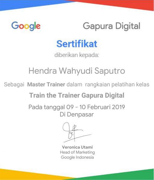 Sertifikat Master Trainer Google Gapura Digital