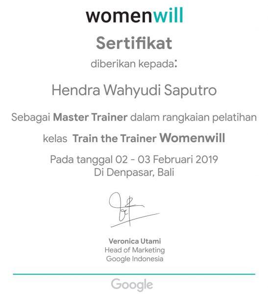 Sertifikat Master Trainer WomenWill