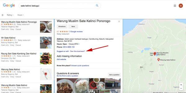 Google Bisnisku Sate Bedugul