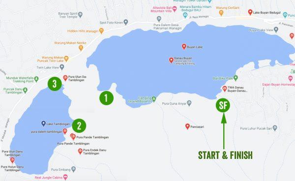 Peta Danau Buyan dan Danau Tamblingan
